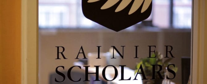 Rainier Scholars logo on the door to their offices.